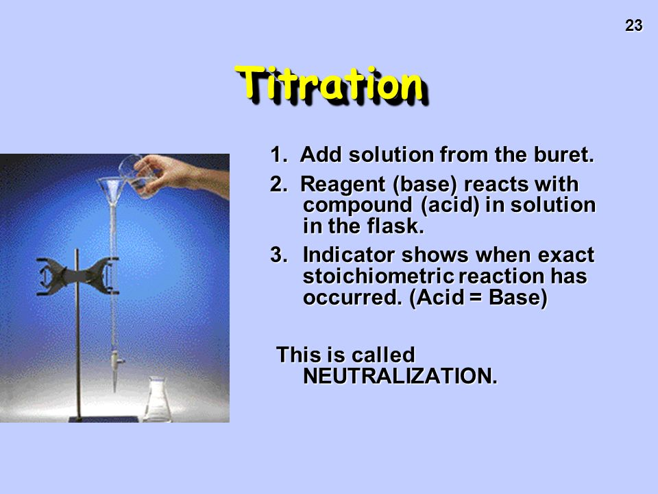 23 TitrationTitration 1. Add solution from the buret. 2. Reagent (base) reacts with compound (acid) in solution in the flask. 3.Indicator shows when e