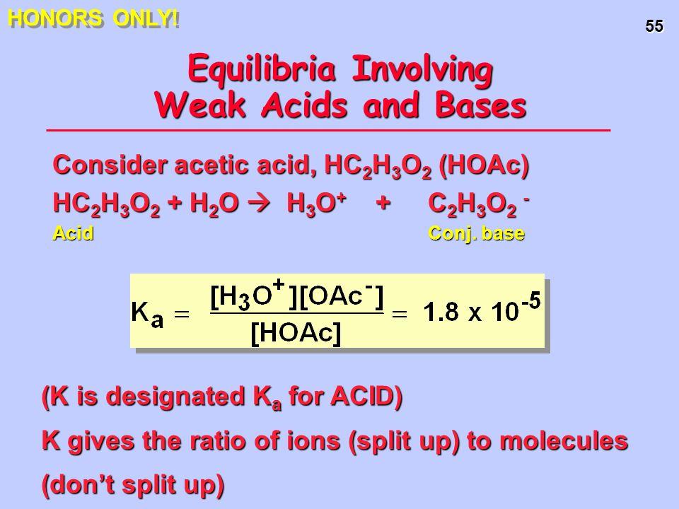 55 Equilibria Involving Weak Acids and Bases Consider acetic acid, HC 2 H 3 O 2 (HOAc) HC 2 H 3 O 2 + H 2 O H 3 O + + C 2 H 3 O 2 - Acid Conj. base (K