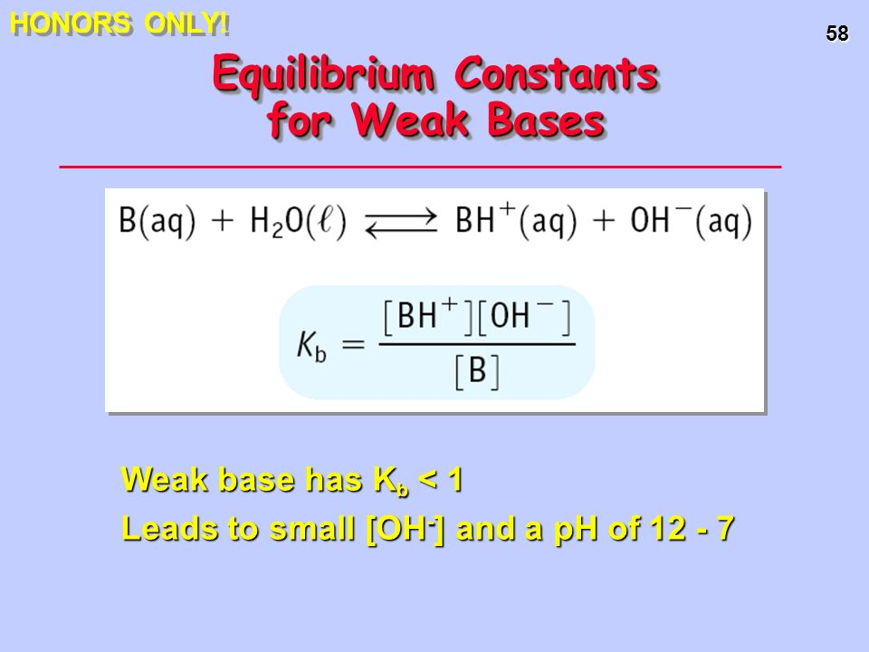 58 Equilibrium Constants for Weak Bases Weak base has K b < 1 Leads to small [OH - ] and a pH of 12 - 7 HONORS ONLY!