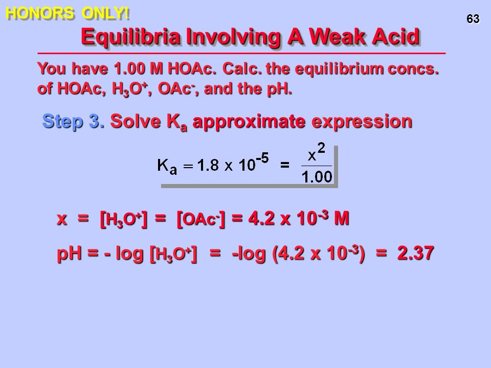 63 Equilibria Involving A Weak Acid Step 3. Solve K a approximate expression You have 1.00 M HOAc. Calc. the equilibrium concs. of HOAc, H 3 O +, OAc