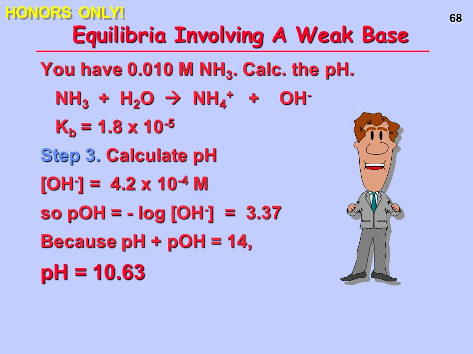 68 Equilibria Involving A Weak Base You have 0.010 M NH 3. Calc. the pH. NH 3 + H 2 O NH 4 + + OH - NH 3 + H 2 O NH 4 + + OH - K b = 1.8 x 10 -5 Step