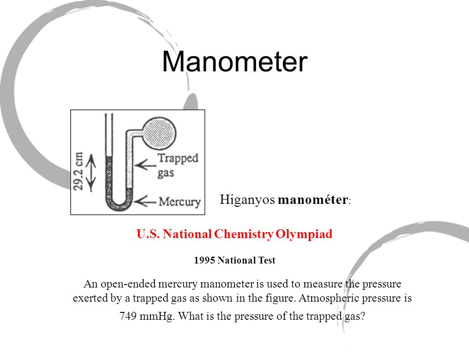 Manometer U.S. National Chemistry Olympiad 1995 National Test An open-ended mercury manometer is used to measure the pressure exerted by a trapped gas