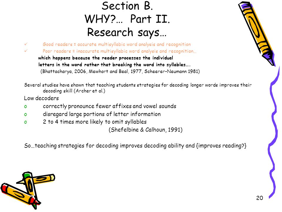 20 Section B. WHY?… Part II. Research says… Good readers = accurate multisyllabic word analysis and recognition Poor readers = inaccurate multisyllabi