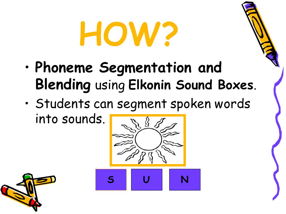 HOW? Phoneme Segmentation and Blending using Elkonin Sound Boxes. Students can segment spoken words into sounds. SUN