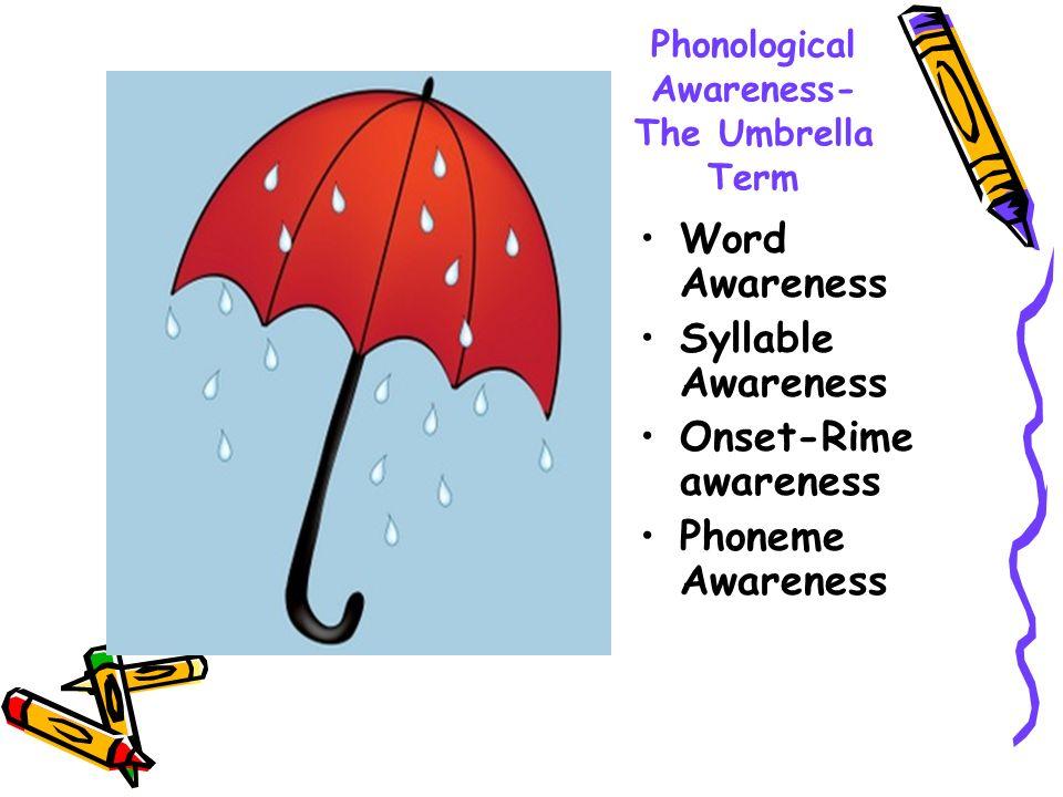 Phonological Awareness- The Umbrella Term Word Awareness Syllable Awareness Onset-Rime awareness Phoneme Awareness
