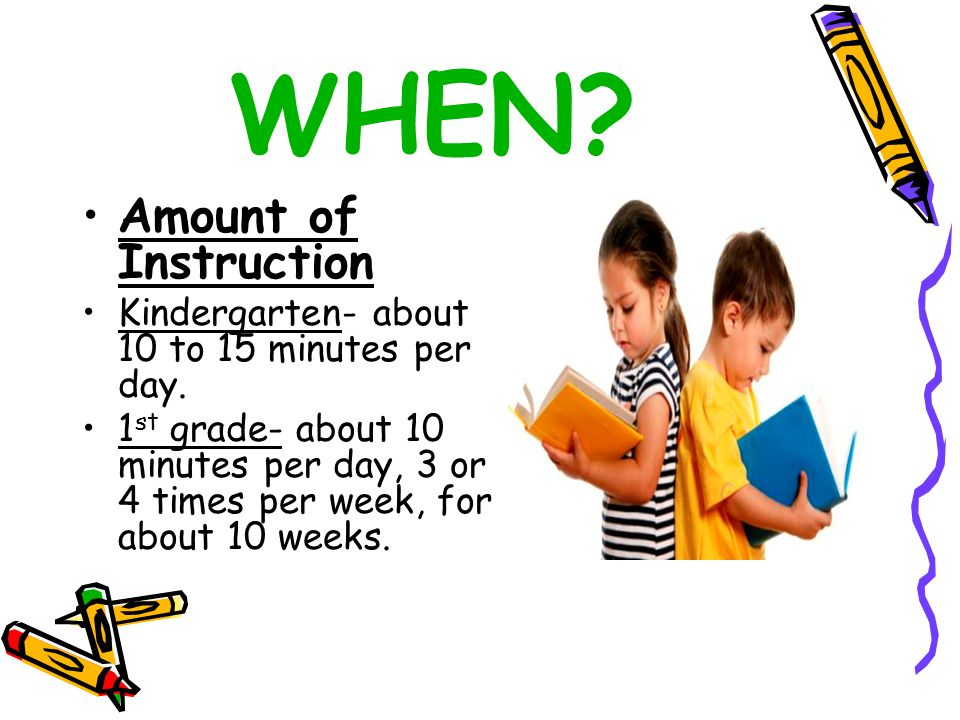 WHEN? Amount of Instruction Kindergarten- about 10 to 15 minutes per day. 1 st grade- about 10 minutes per day, 3 or 4 times per week, for about 10 we