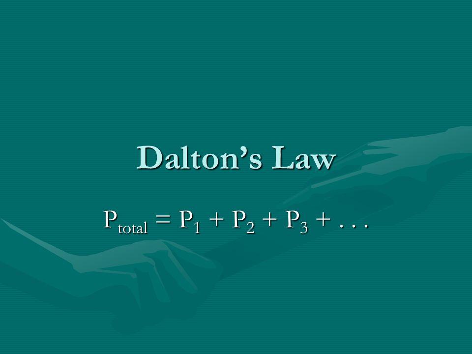 Daltons Law P total = P 1 + P 2 + P 3 +...