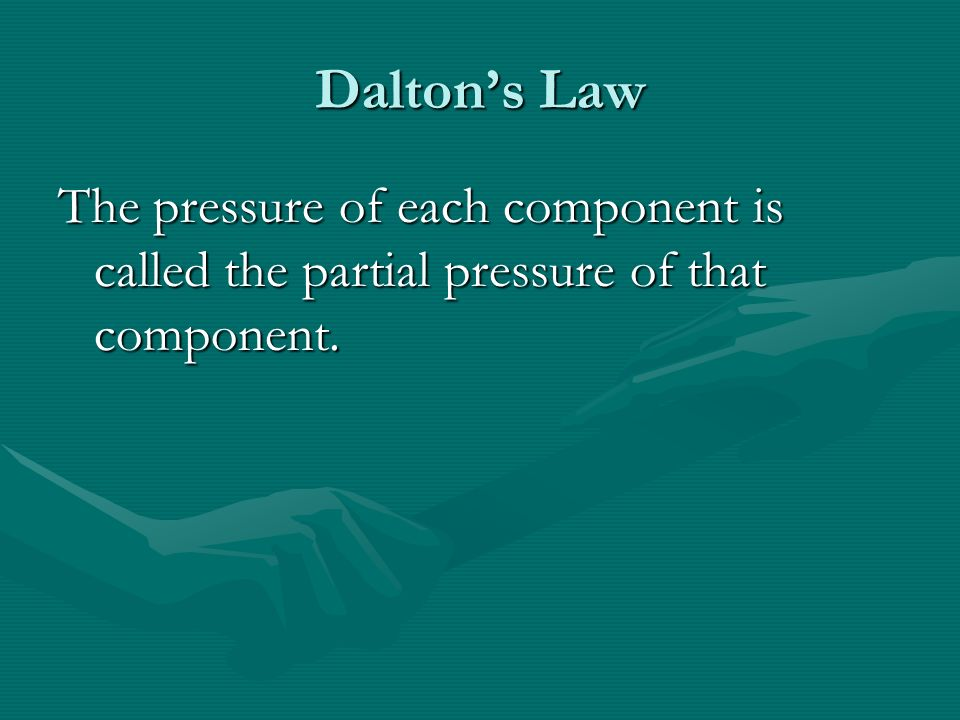 Daltons Law The pressure of each component is called the partial pressure of that component.