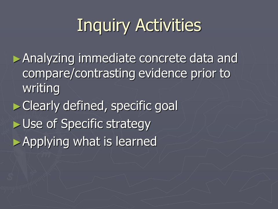 Inquiry Activities Analyzing immediate concrete data and compare/contrasting evidence prior to writing Analyzing immediate concrete data and compare/contrasting evidence prior to writing Clearly defined, specific goal Clearly defined, specific goal Use of Specific strategy Use of Specific strategy Applying what is learned Applying what is learned