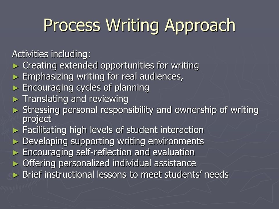 Process Writing Approach Activities including: Creating extended opportunities for writing Creating extended opportunities for writing Emphasizing writing for real audiences, Emphasizing writing for real audiences, Encouraging cycles of planning Encouraging cycles of planning Translating and reviewing Translating and reviewing Stressing personal responsibility and ownership of writing project Stressing personal responsibility and ownership of writing project Facilitating high levels of student interaction Facilitating high levels of student interaction Developing supporting writing environments Developing supporting writing environments Encouraging self-reflection and evaluation Encouraging self-reflection and evaluation Offering personalized individual assistance Offering personalized individual assistance Brief instructional lessons to meet students needs Brief instructional lessons to meet students needs