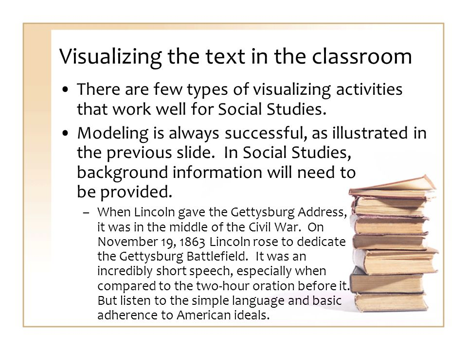 Visualizing the text in the classroom There are few types of visualizing activities that work well for Social Studies.