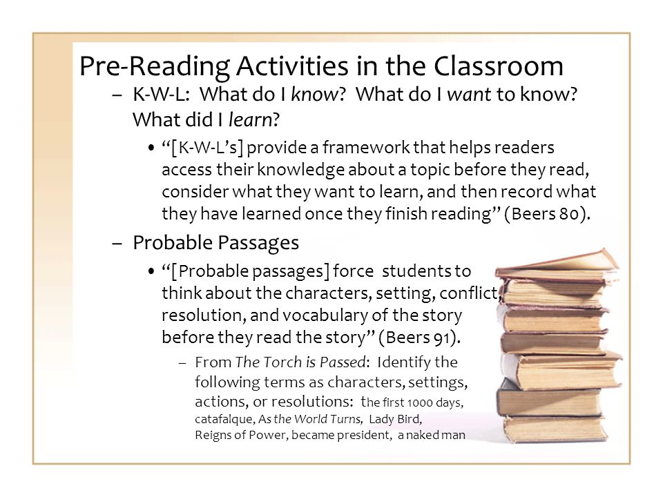 Pre-Reading Activities in the Classroom –K-W-L: What do I know.