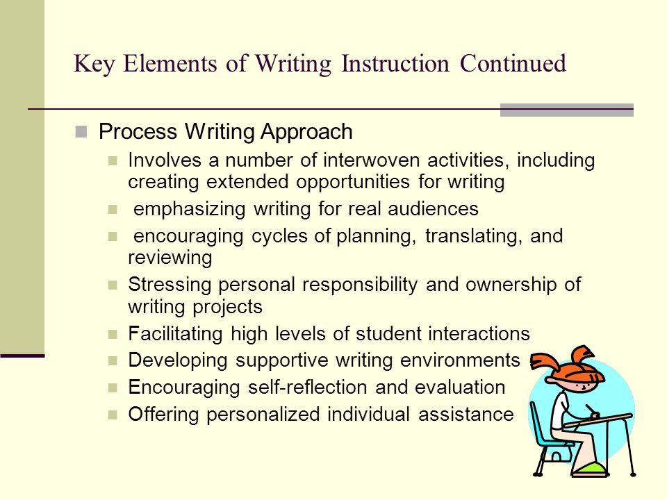Key Elements of Writing Instruction Continued Process Writing Approach Involves a number of interwoven activities, including creating extended opportu