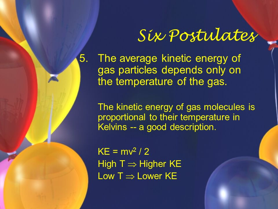 Six Postulates 5.The average kinetic energy of gas particles depends only on the temperature of the gas. The kinetic energy of gas molecules is propor