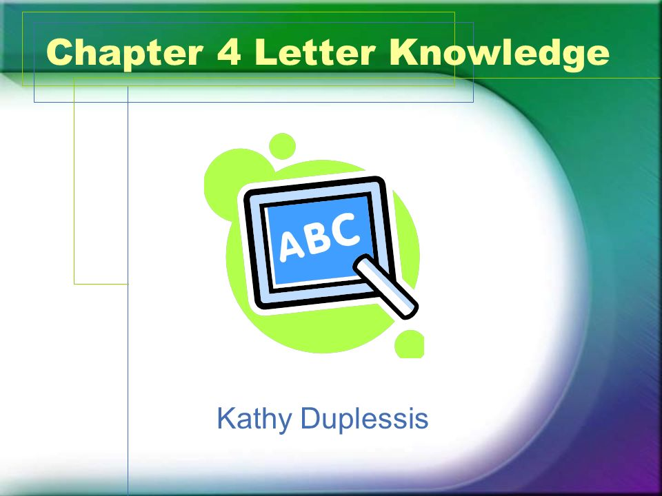 Chapter 4 Letter Knowledge Kathy Duplessis