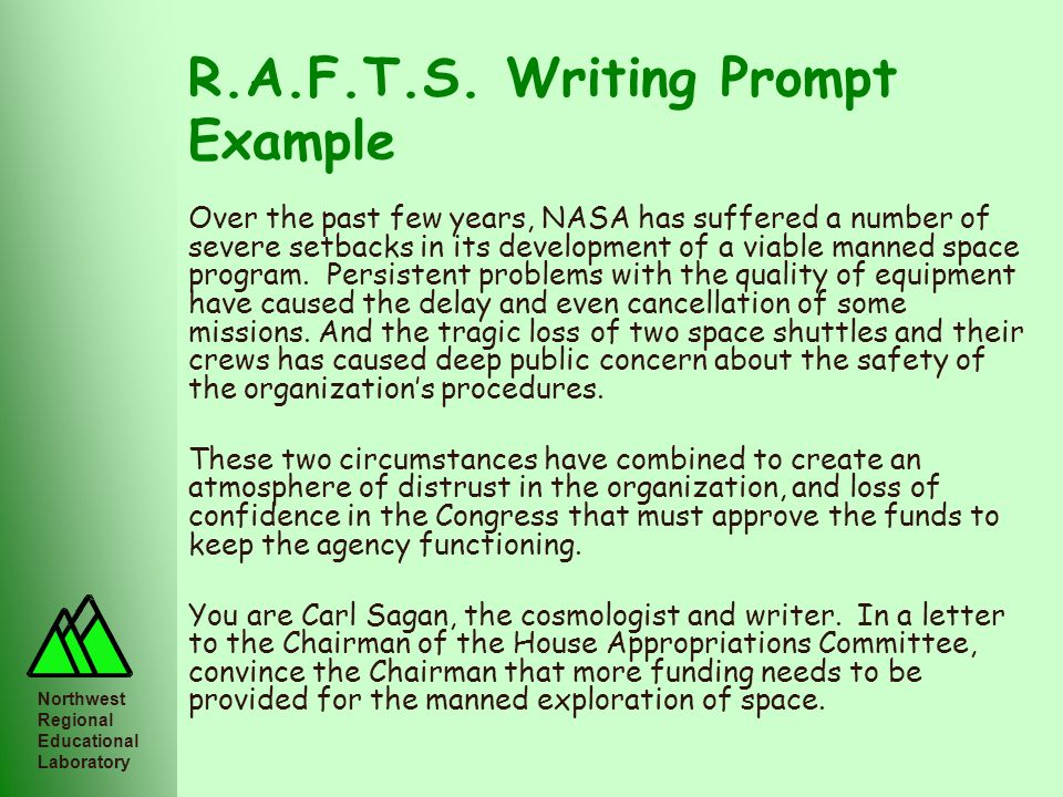 Northwest Regional Educational Laboratory R.A.F.T.S. Writing Prompt Example Over the past few years, NASA has suffered a number of severe setbacks in