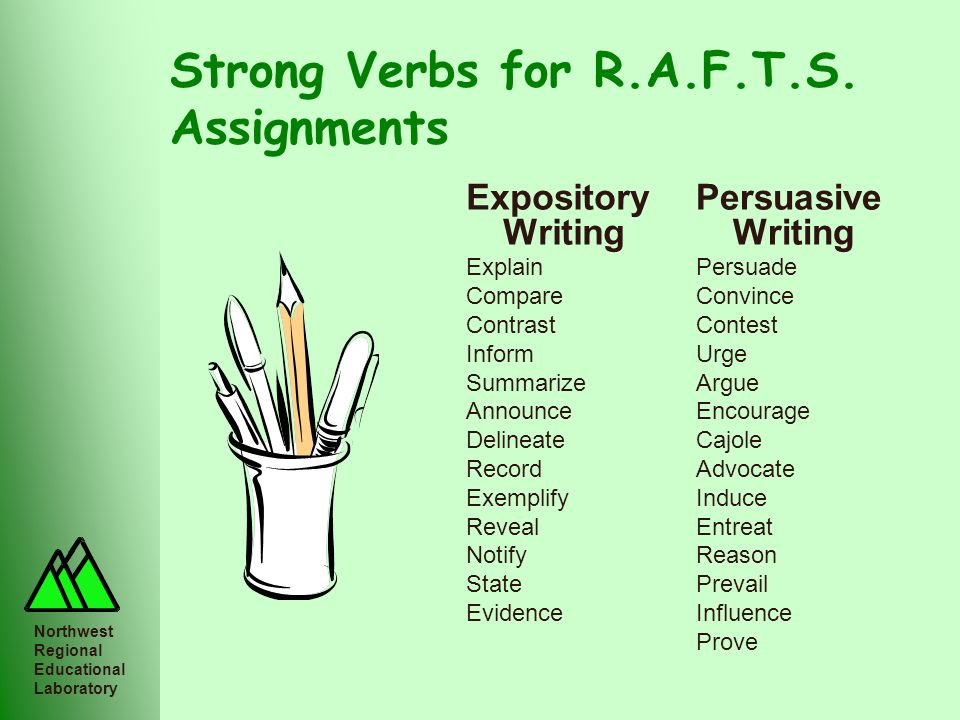 Northwest Regional Educational Laboratory Strong Verbs for R.A.F.T.S. Assignments Persuasive Writing Persuade Convince Contest Urge Argue Encourage Ca