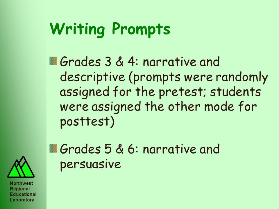 Northwest Regional Educational Laboratory Writing Prompts Grades 3 & 4: narrative and descriptive (prompts were randomly assigned for the pretest; stu