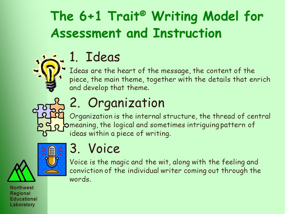 Northwest Regional Educational Laboratory The 6+1 Trait ® Writing Model for Assessment and Instruction 1. Ideas Ideas are the heart of the message, th