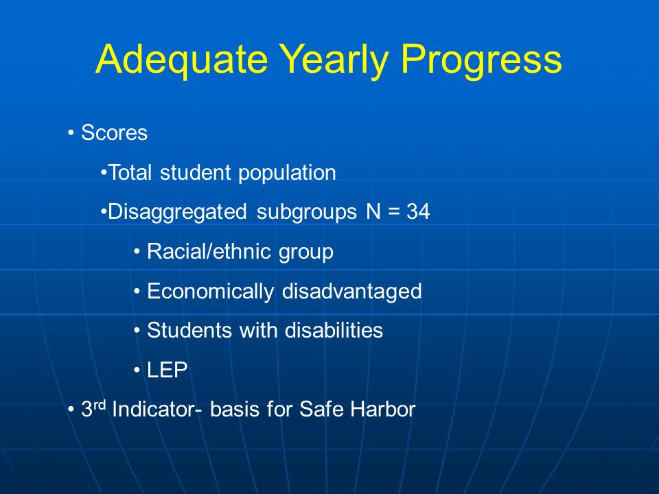 Adequate Yearly Progress Scores Total student population Disaggregated subgroups N = 34 Racial/ethnic group Economically disadvantaged Students with d