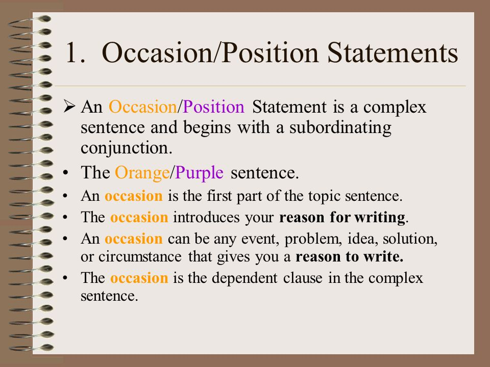 Examples of A Few Good Prepositions statements.
