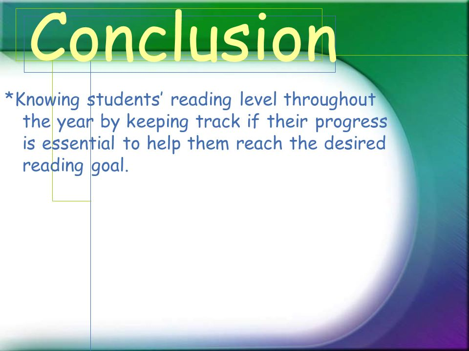 Conclusion *Knowing students reading level throughout the year by keeping track if their progress is essential to help them reach the desired reading goal.