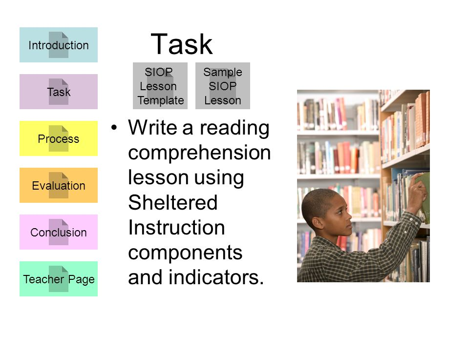 Task Write a reading comprehension lesson using Sheltered Instruction components and indicators.