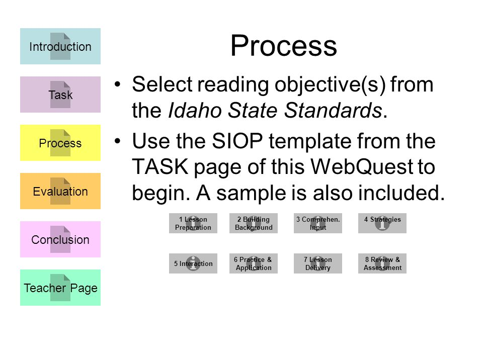 Process Select reading objective(s) from the Idaho State Standards.