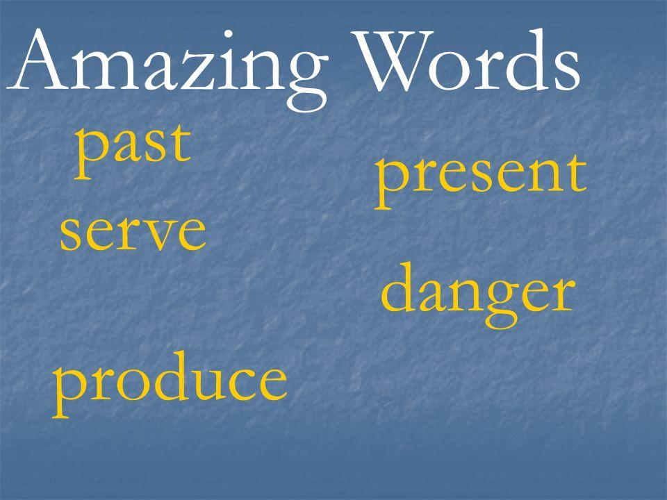 Amazing Words past produce danger present serve