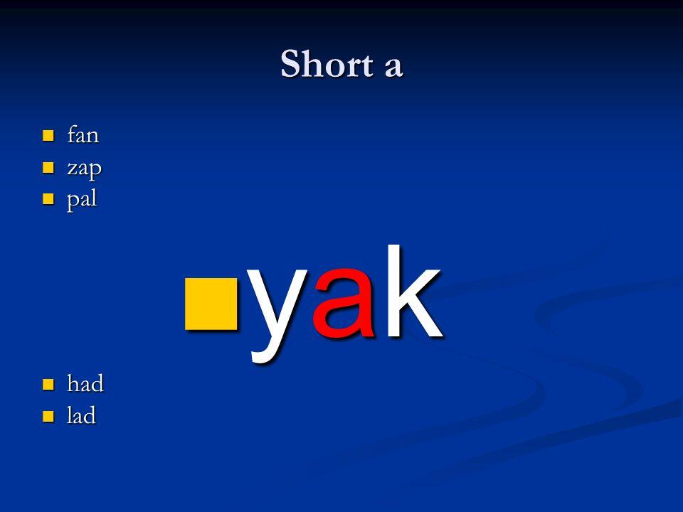 Short a fan fan zap zap pal pal yak yak had had lad lad