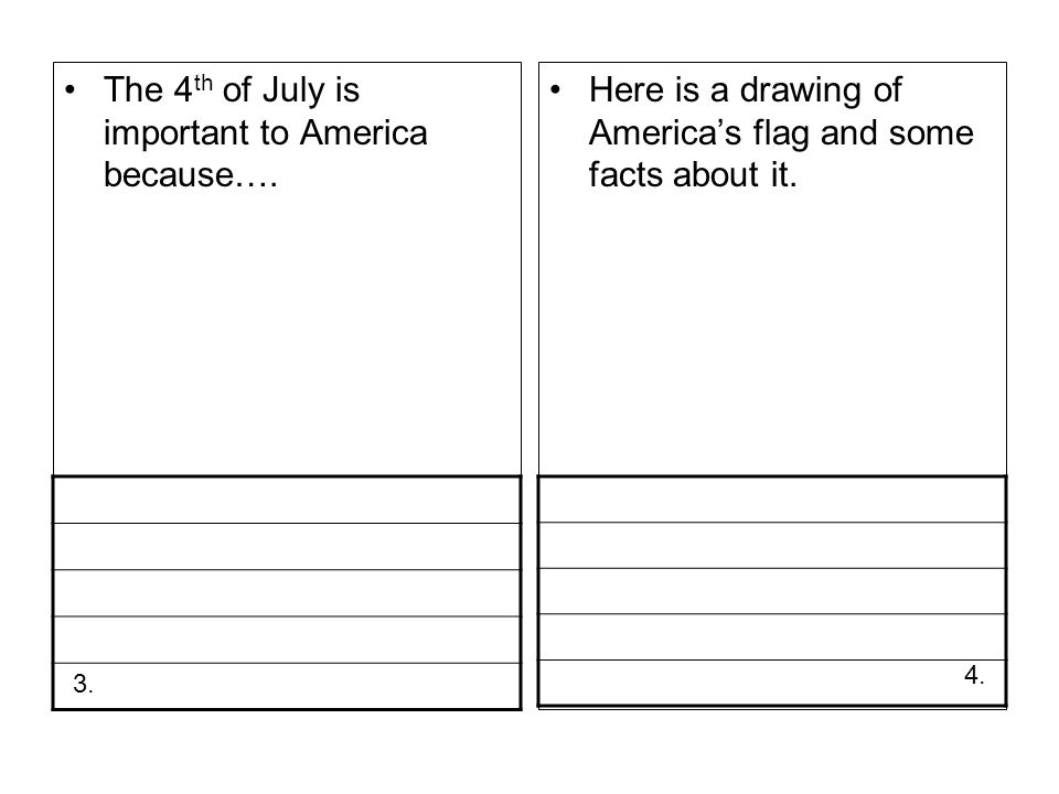 The 4 th of July is important to America because…. Here is a drawing of Americas flag and some facts about it. 4. 3.