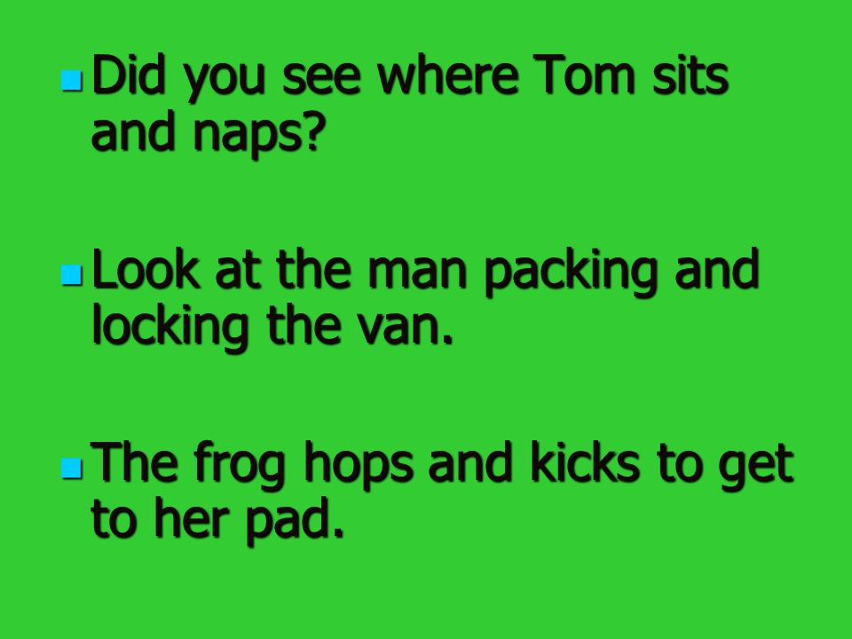 Did you see where Tom sits and naps. Did you see where Tom sits and naps.