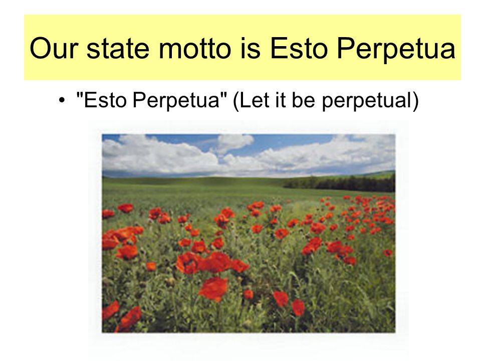 Our state motto is Esto Perpetua Esto Perpetua (Let it be perpetual)