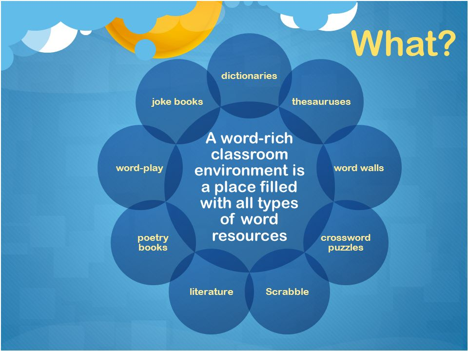 A word-rich classroom environment is a place filled with all types of word resources dictionariesthesaurusesword walls crossword puzzles Scrabbleliterature poetry books word-playjoke books What