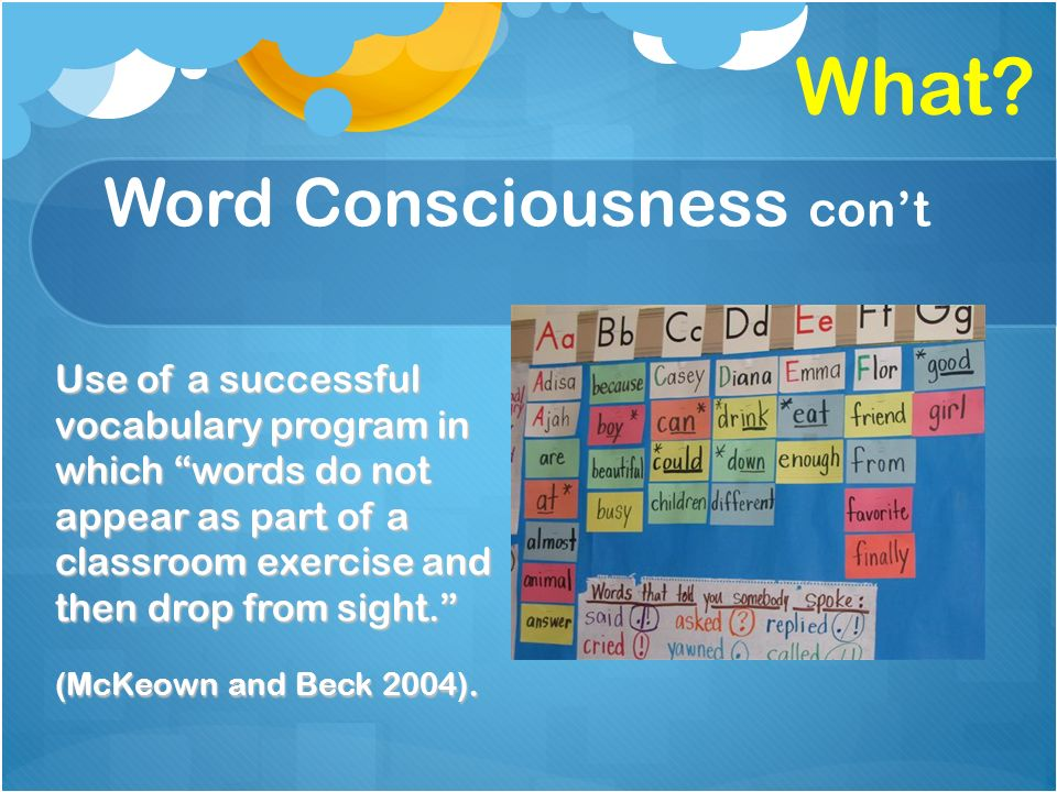 Word Consciousness cont Use of a successful vocabulary program in which words do not appear as part of a classroom exercise and then drop from sight.