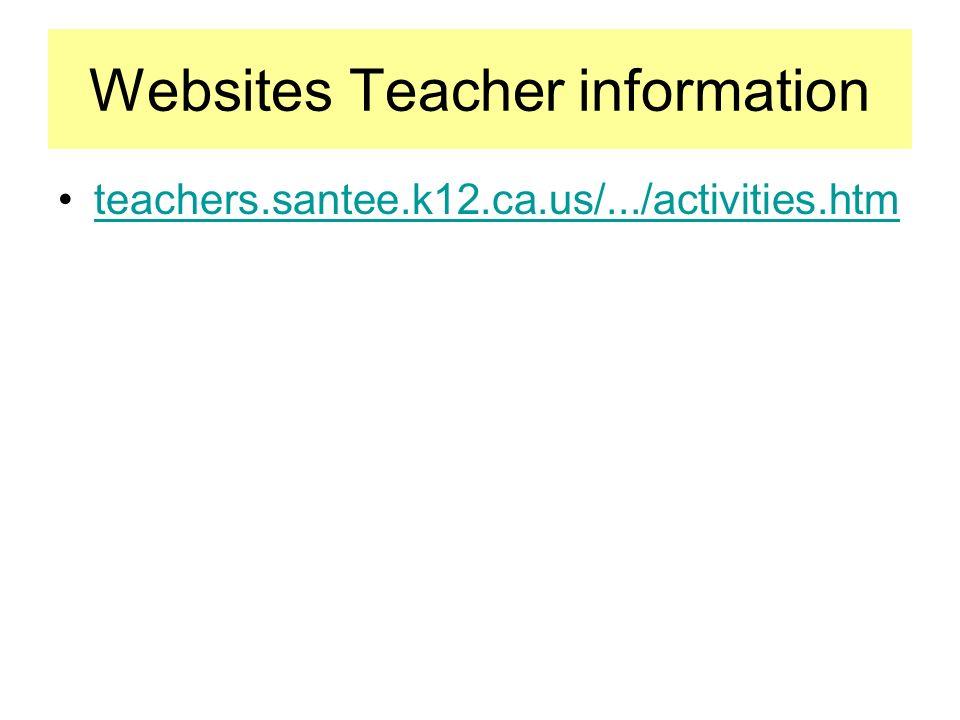 Websites Teacher information teachers.santee.k12.ca.us/.../activities.htm