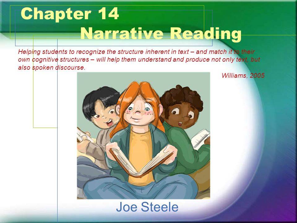 Conclusion Story elements provide the framework for applying comprehension strategies to narrative text Understanding story structure can enhance comprehension Traditional assessments need to be used in conjunction with ongoing teacher assessments for comprehension Comprehension should be taught from a students first contact with text through high school Comprehension skills should be taught in a variety of ways
