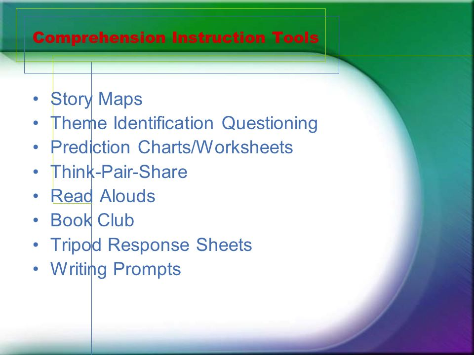 Comprehension Instruction Tools Story Maps Theme Identification Questioning Prediction Charts/Worksheets Think-Pair-Share Read Alouds Book Club Tripod Response Sheets Writing Prompts