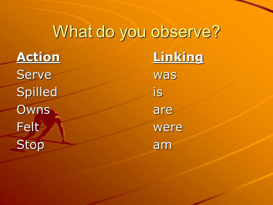 What do you observe? ActionLinking Servewas Spilledis Ownsare Feltwere Stopam