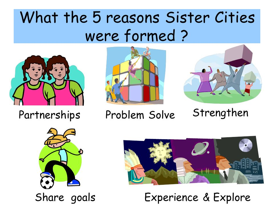 What the 5 reasons Sister Cities were formed .