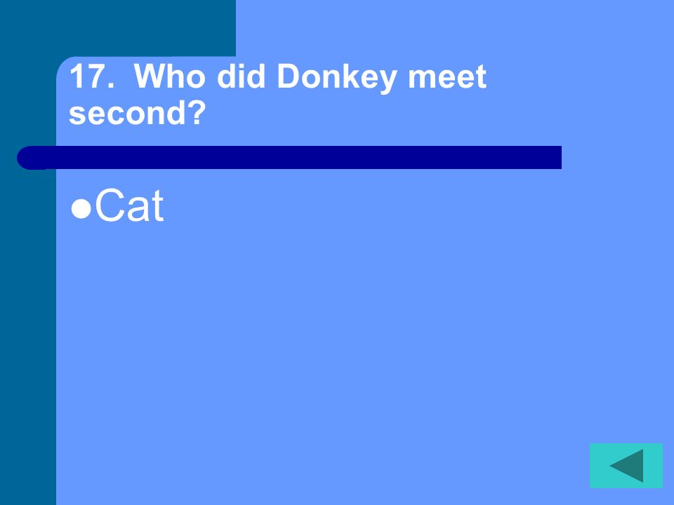 16. Who did donkey meet first? Dog