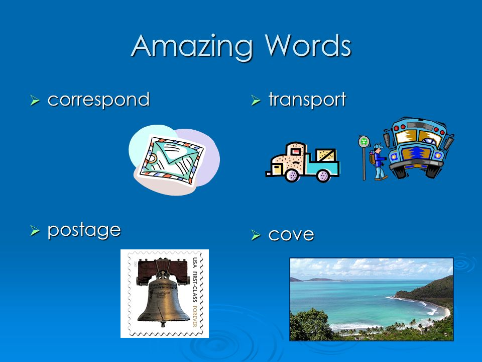 Amazing Words correspond correspond postage postage transport transport cove cove