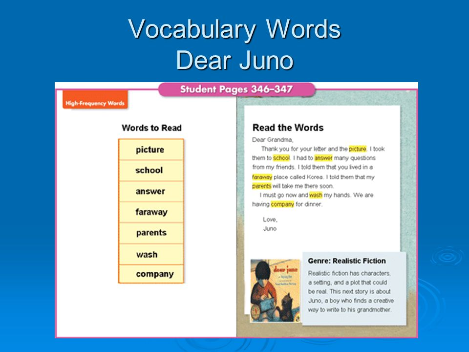 Vocabulary Words Dear Juno