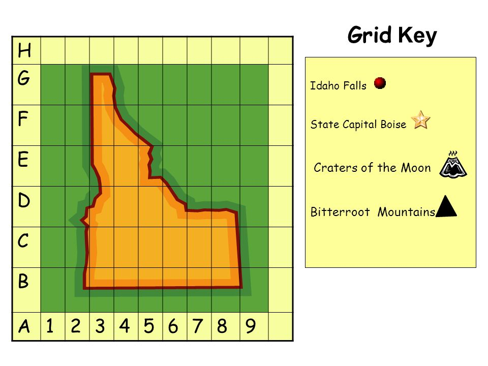 Grid Key H G F E D C B A123456789 Idaho Falls State Capital Boise Craters of the Moon Bitterroot Mountains