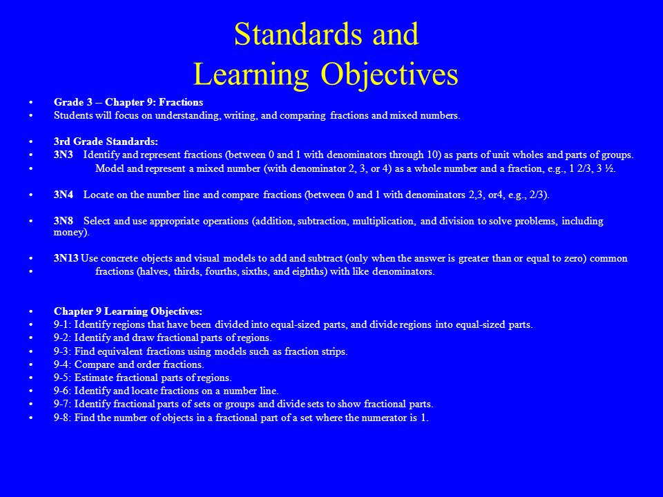 Standards and Learning Objectives Grade 3 -- Chapter 9: Fractions Students will focus on understanding, writing, and comparing fractions and mixed numbers.