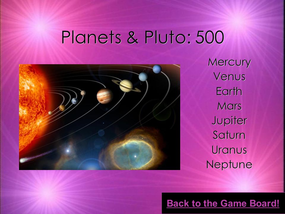 Planets & Pluto: 400 Crust Mantle Outer Core Inner Core Crust Mantle Outer Core Inner Core Back to the Game Board!