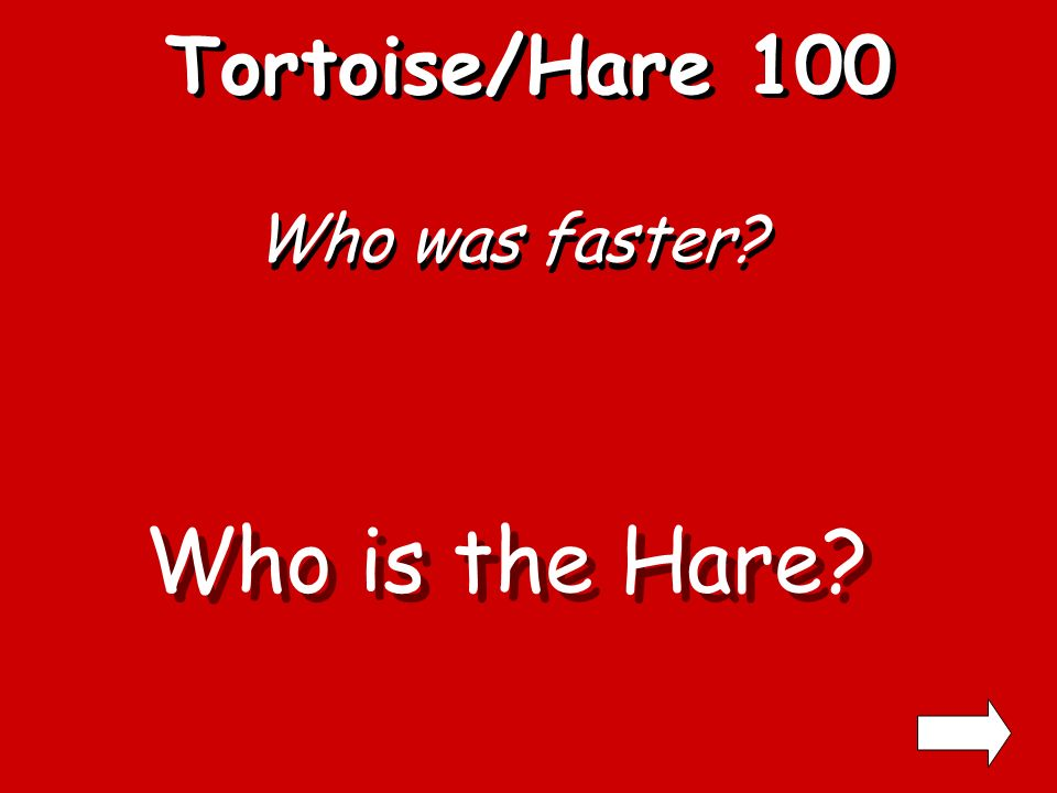 Tortoise /Hare 300 400 100 200 300 400 100 200 300 400 100 200 300 400 100 200 100 200 300 400 Crow and Pitcher Grasshopper and Ants Belling the Cat Fly on the Wagon