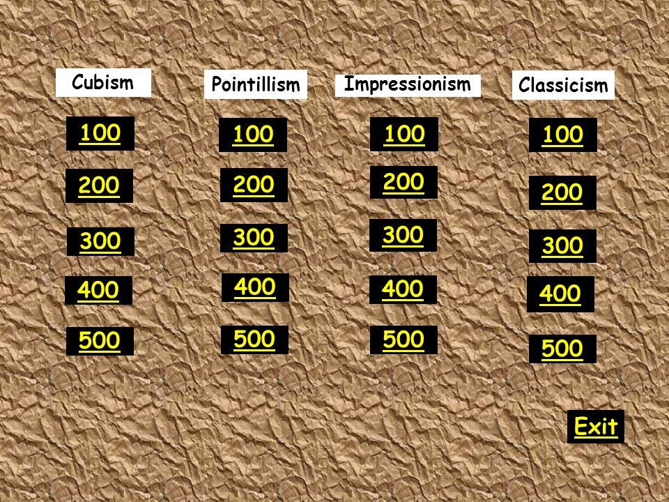 Pointillism Impressionism 300 400 500 100 200 300 400 500 100 200 300 400 500 100 200 300 400 500 100 200 Classicism Exit Cubism