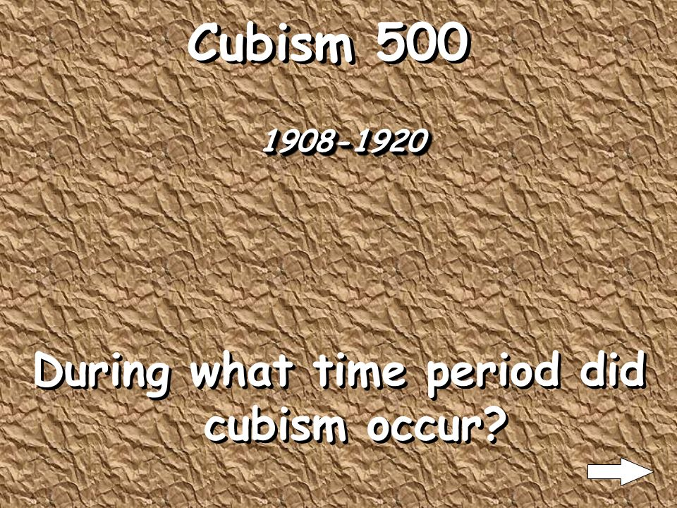 Cubism 400 An object can only be captured by showing it from multiple points of view simultaneously What the key concept underlying cubism?