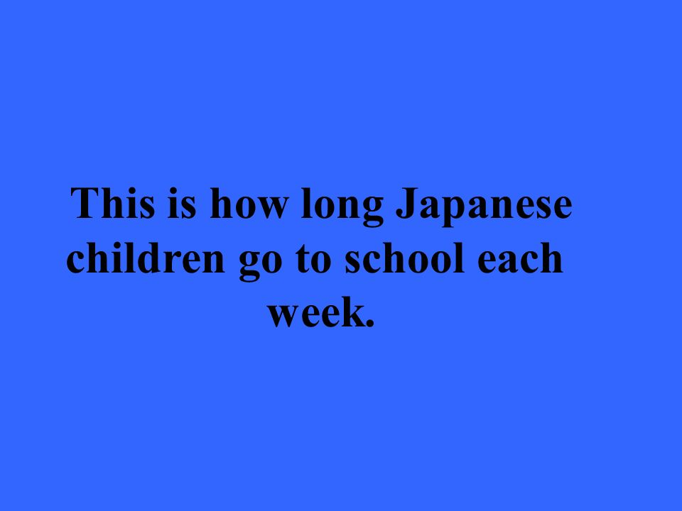 This is how long Japanese children go to school each week.